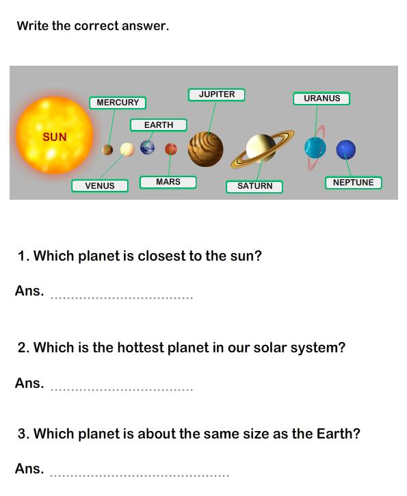 Solar System Worksheet 15