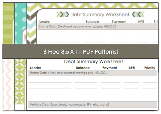 Free Debt Summary Worksheet