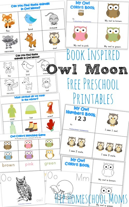 Owl Moon Inspired Preschool Printables