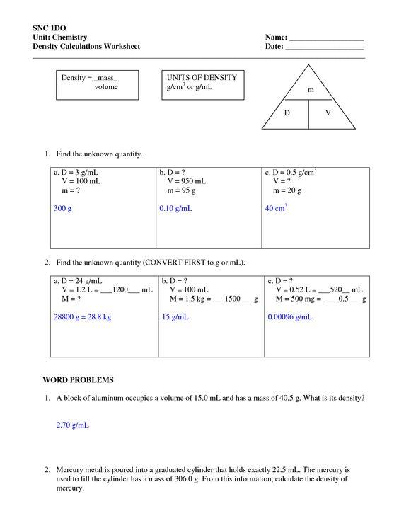 Printables  Density Worksheets  Lemonlilyfestival Worksheets