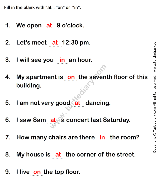 Prepositions Worksheet4