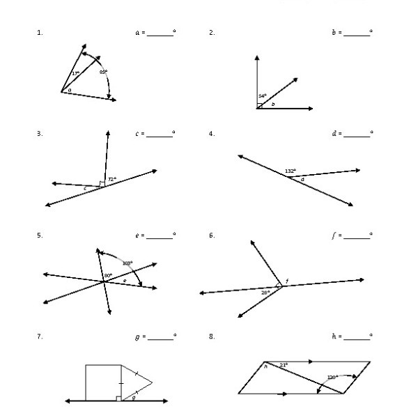 Eighth Grade Adjacent Angles Worksheet 05 – One Page Worksheets
