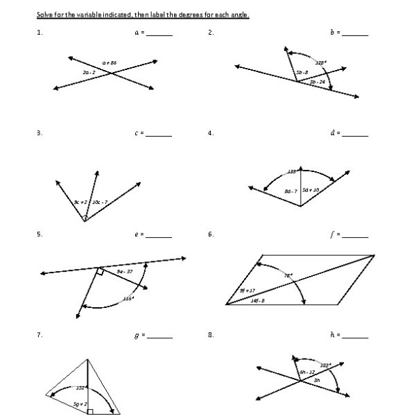 Eighth Grade Adjacent Angles Worksheet 10 – One Page Worksheets