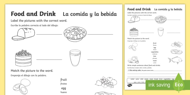 Food And Drink Worksheet   Worksheet English Spanish