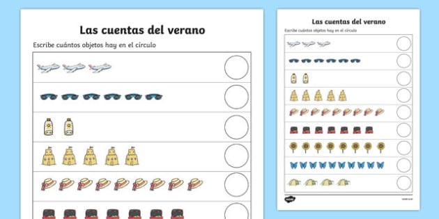 Las Cuentas Del Verano Summer Counting Worksheet   Worksheet Spanish