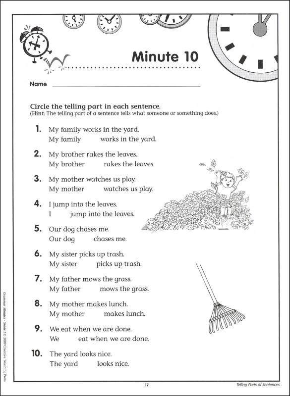 Grammar Worksheets Grade 1  Grammar Minutes Grade 1 (044343