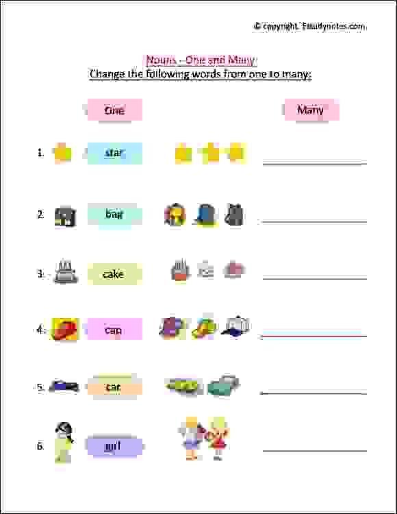 Singular And Plural Noun Worksheets For Grade 1 Kids To Practice