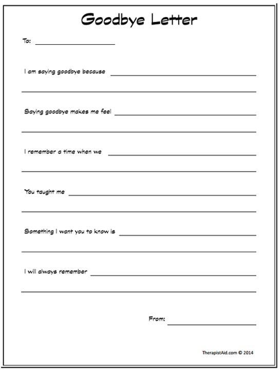 Goodbye Letter (worksheet