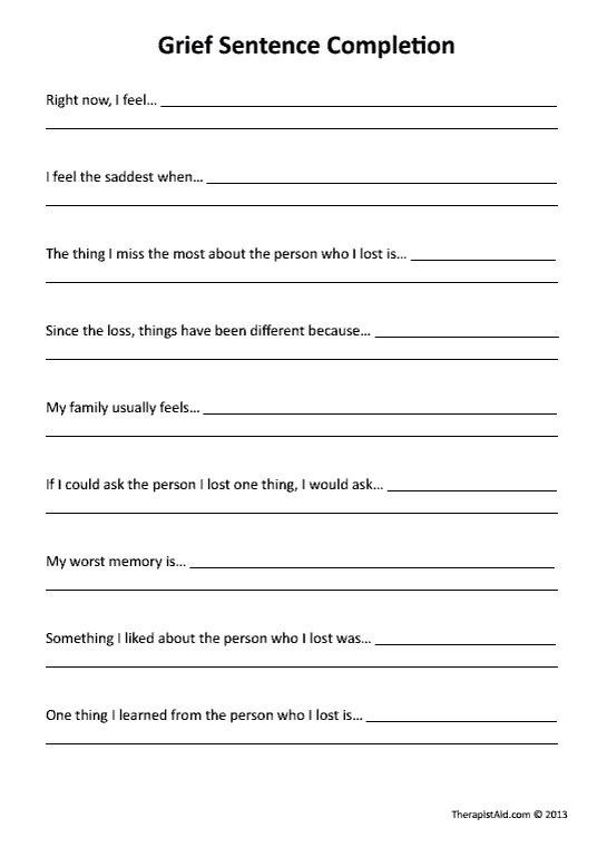 Printables  Grief And Loss Worksheets  Lemonlilyfestival