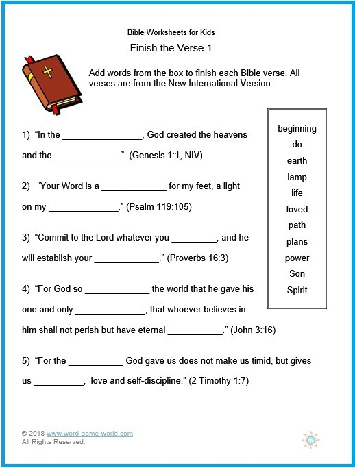 Free Printable Bible Worksheets For Youth – Worksheet Template