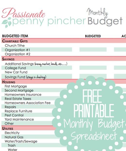 Free Printable Budget Spreadsheet