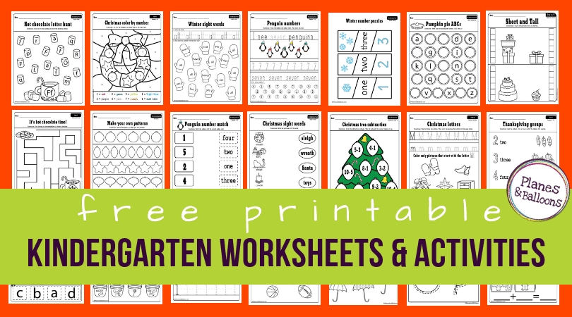 150+ Free Printable Worksheets For Kindergarten Instant Download