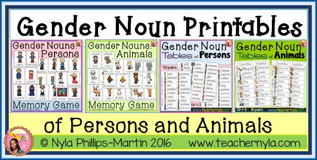 Nyla's Crafty Teaching  Gender Noun Printables