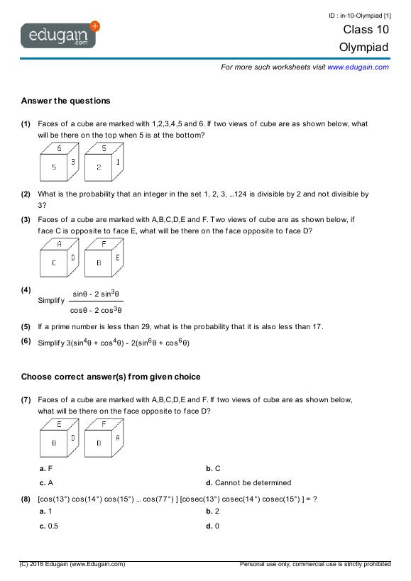 Grade 10 Olympiad  Printable Worksheets, Online Practice, Online