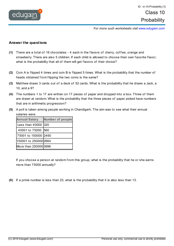 Year 10 Math Worksheets And Problems  Probability