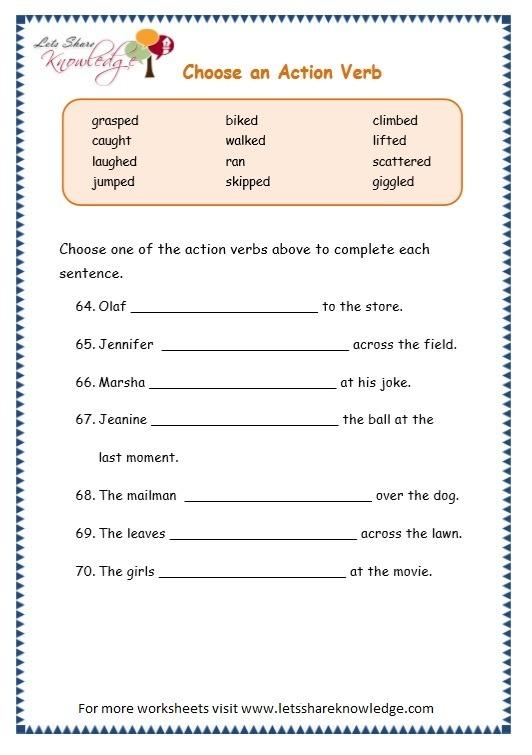 Grade 3 Grammar Topic 2  Action Verbs Worksheets