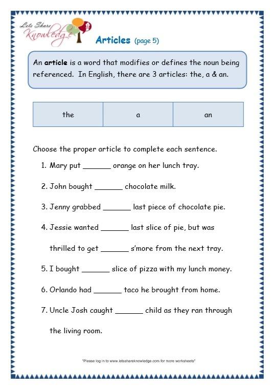 Grade 3 Grammar Topic 34  Articles Worksheets