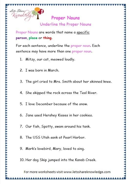 Grade 3 Grammar Topic 7  Proper Nouns Worksheets