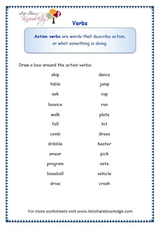 Grade 3 Grammar Topic 13  Verbs Worksheets