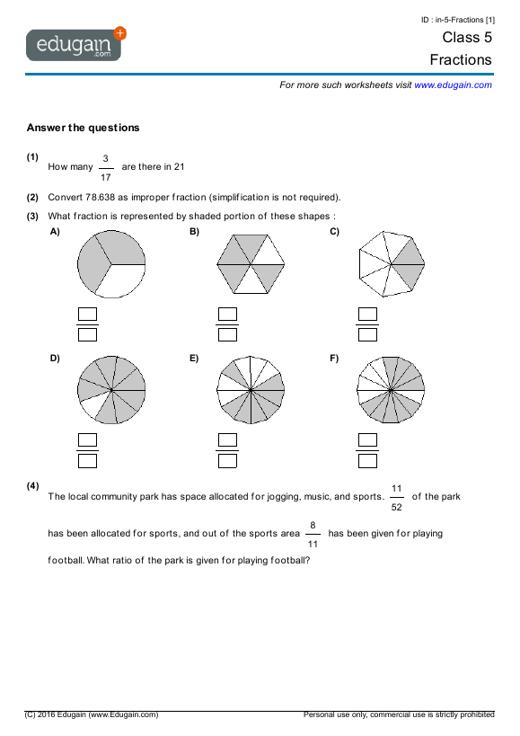 Grade 5 Math Worksheets And Problems  Fractions