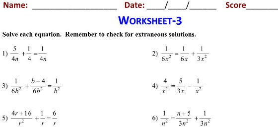 Simple Equations Grade 7 Math Worksheets Study Guide