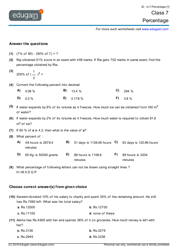 Grade 7 Math Worksheets And Problems  Percentage
