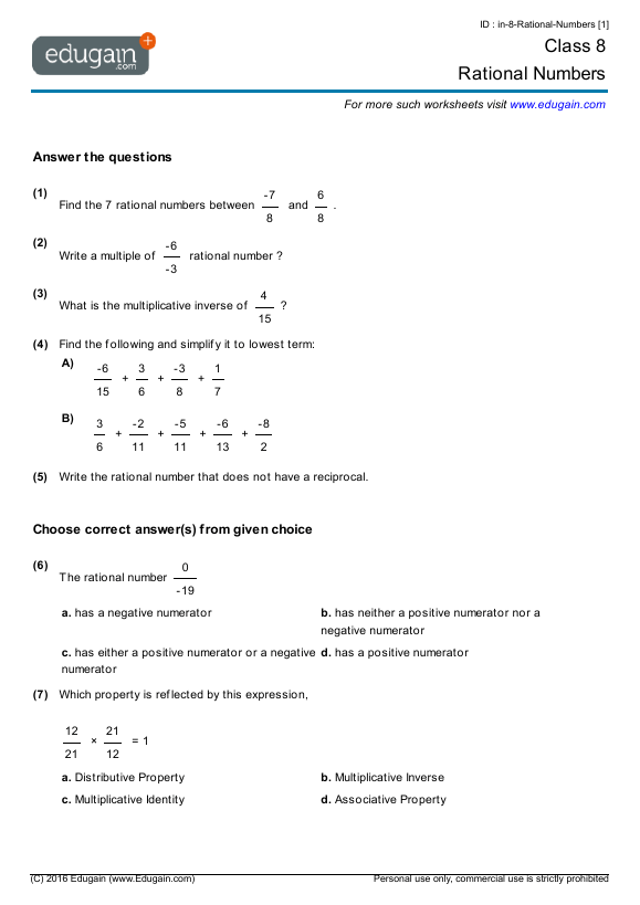 Class 8 Math Worksheets And Problems  Rational Numbers