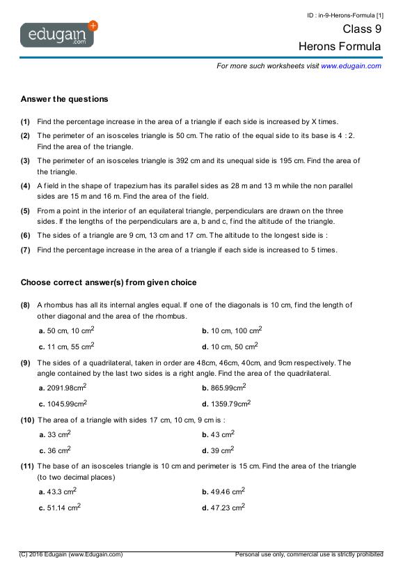 Grade 9 Math Worksheets And Problems  Herons Formula