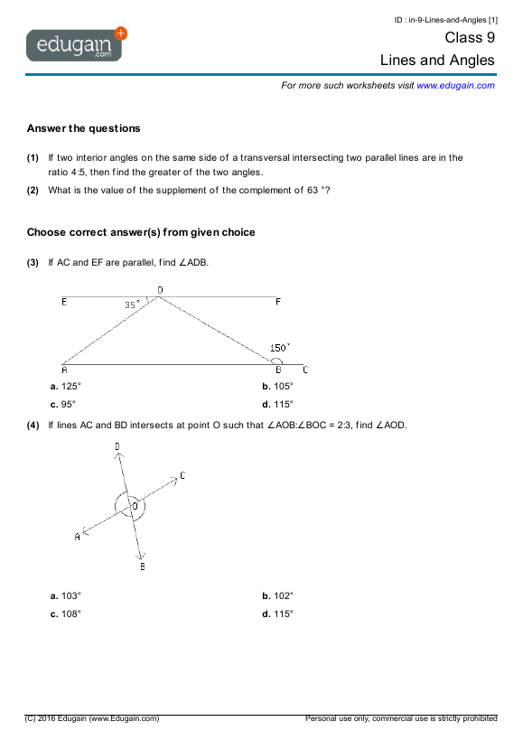 Grade 9 Math Worksheets And Problems  Lines And Angles