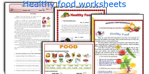 Healthy Food Worksheets