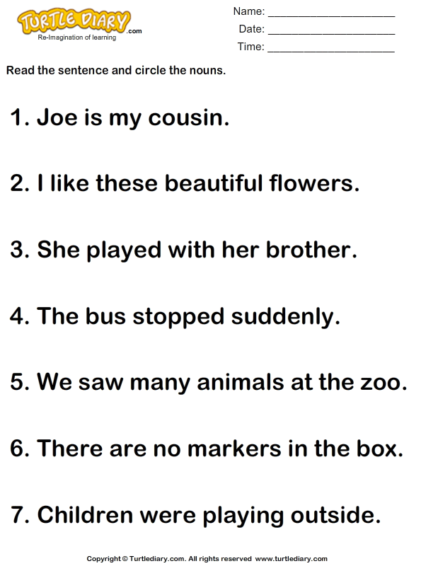 Identify And Circle Nouns In A Sentence Worksheet