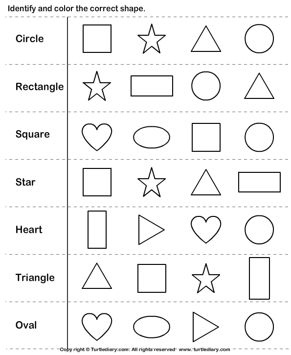 Identify And Color The Shape Worksheet