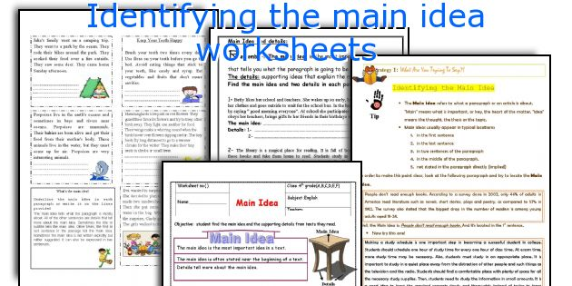 Identifying The Main Idea Worksheets