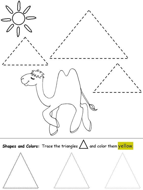 Kindergarten Geometry Worksheets Triangle Shapes For Preschool
