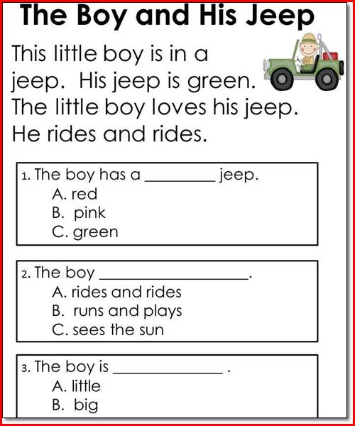 Kindergarten Printable Worksheets Reading Comprehension