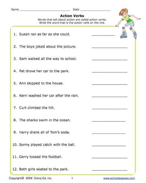 School Express Action Verbs Worksheet