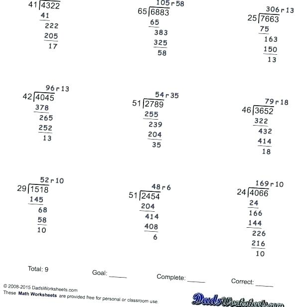 Long Division Worksheets Grade 5 Free Printable 6 4 Activities