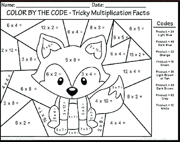 Math Worksheets Color Number Multiplication Download Them And