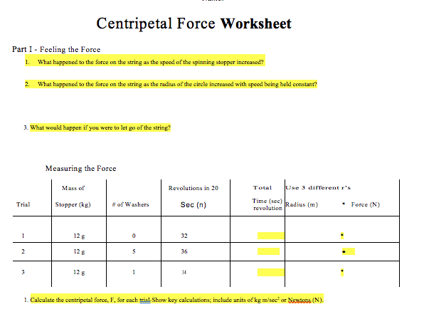 Solved  I Did This Lab Tonight On Centripetal Force  I Fil