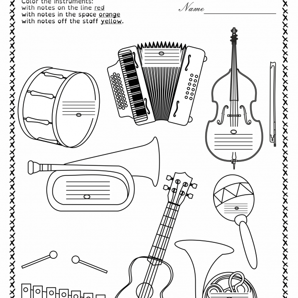Music Worksheets Pack (line