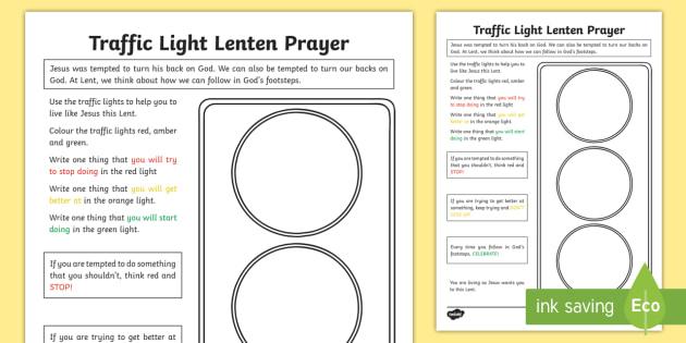 Traffic Light Lenten Prayer Worksheet   Worksheet