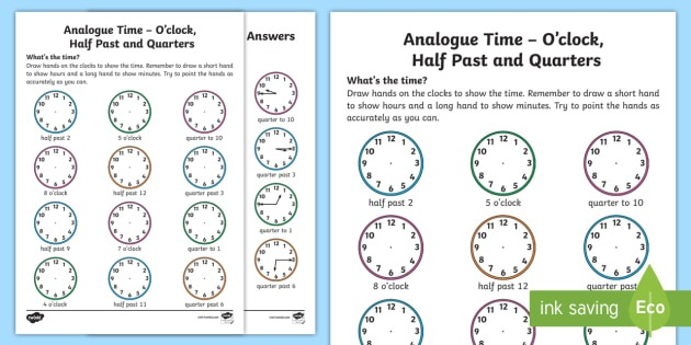 Analogue Time O'clock, Half Past And Quarters Worksheet
