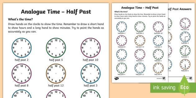 Analogue Time Half Past Worksheet   Worksheet