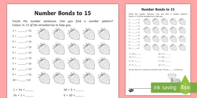 Number Bonds Within 20  Bonds To 15 Worksheet   Worksheet