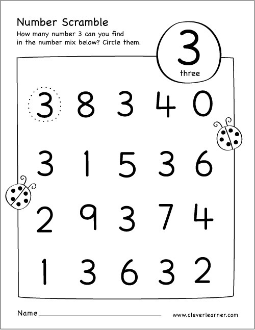 Number 3 Worksheets