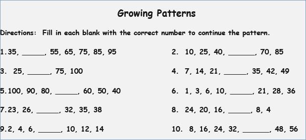 Number Patterns Worksheets 2nd Grade Patterns Worksheets 4th Grade
