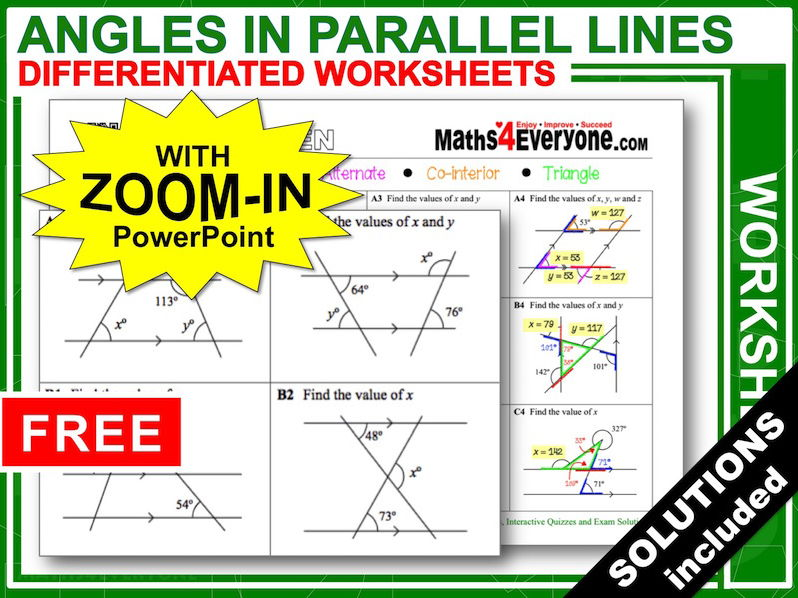 Angles In Parallel Lines (worksheets With Answers) By