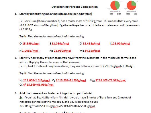 Determining Percent Composition From Molecular Formula Worksheet