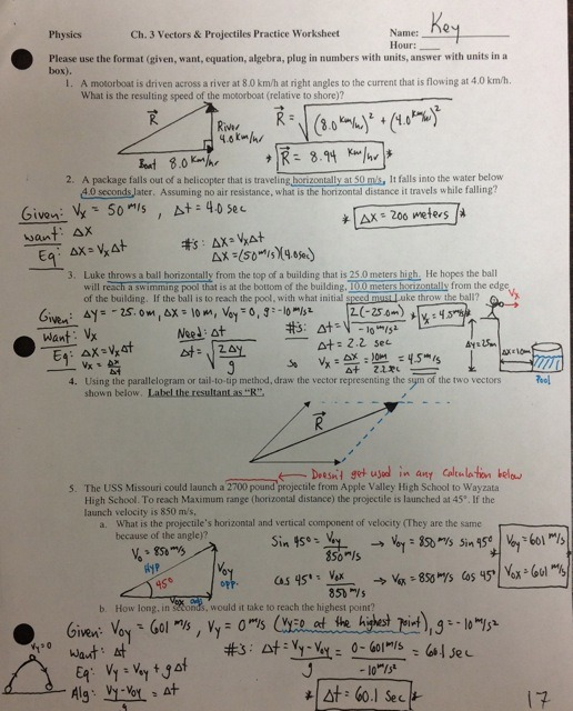 2010 0097 5091 A 2  Vector Projectile Practice Worksheet Answers