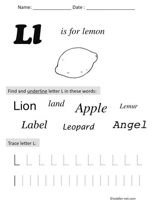 Free Printable Letter L Preschool Worksheet